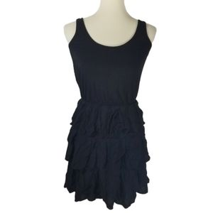Ella Moss Black Tiered Ruffle mini dress sz xs